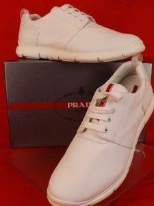 Prada White Men's Bianco Canvas Lace Up Logo Sneakers 10 Us 11 Shoes