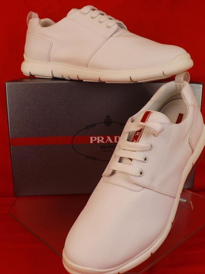 345b4ee4 Prada White Men's Bianco Canvas Lace Up Logo Sneakers 10 Us 11 Shoes 48%  off retail