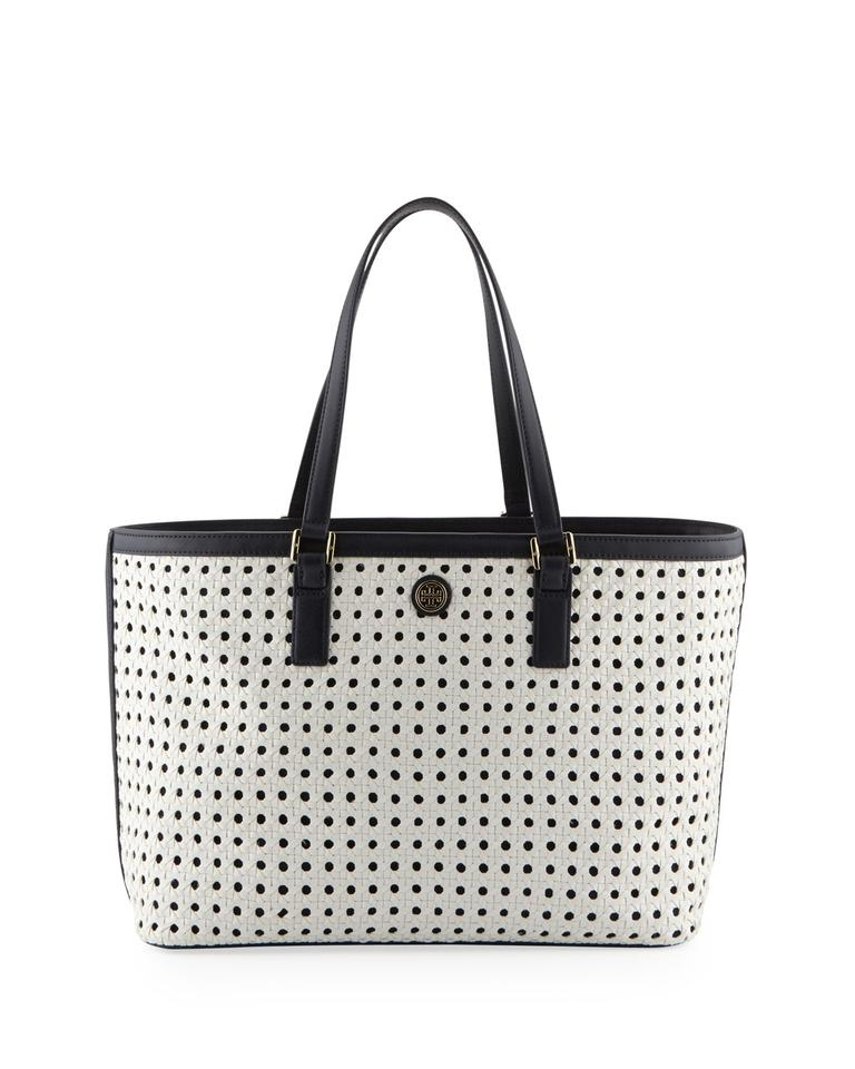840fccb8581 Tory Burch Robinson Basketweave White Tory Navy White Pvc Canvas Leather  Tote