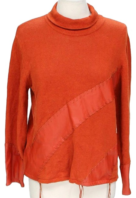 Preload https://img-static.tradesy.com/item/24097244/orange-leather-applique-high-neck-sweater-with-detail-cardigan-size-8-m-0-1-650-650.jpg