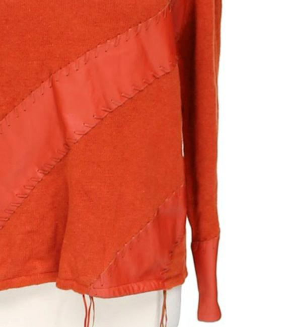 cardigan Detail Leather Trim Leather Applique High Neck Sweater Turtle Neck Cardigan