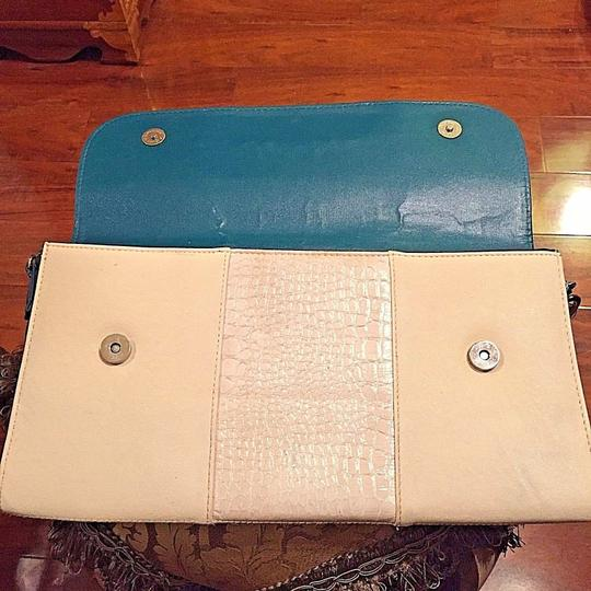 Carven Leather Turquoise Multi-color Clutch