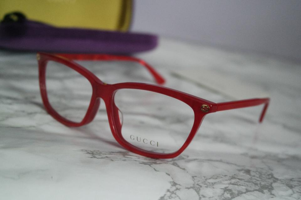 1896a913ed Gucci NEW Gucci 0042OA Red Asian Fit Cat Eye Eyeglasses Frames Image 9.  12345678910