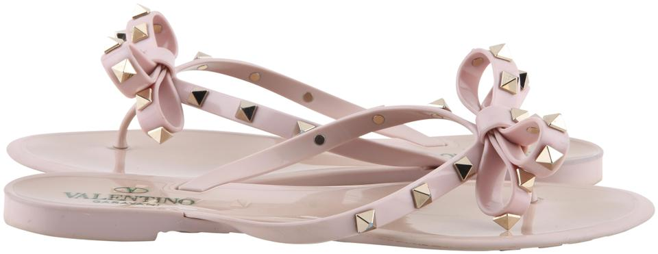46b88fe882d0 Valentino Pink Water Rose Pvc Thong Rockstud Bow Sandals Size US 9 ...