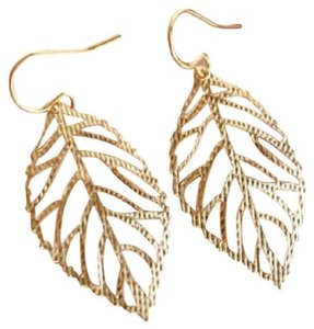 Other New Large Gold Leaf Earrings, Yellow Gold Dangling Earrings - item med img