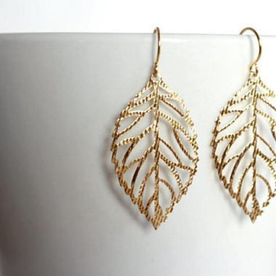Other New Large Gold Leaf Earrings, Yellow Gold Dangling Earrings