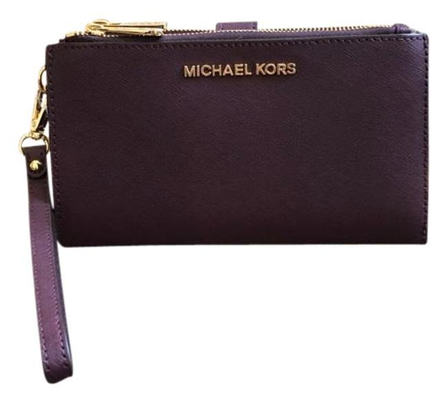 Michael Kors Damson Jet Set Double Zip Leather Smartphone Wristlet Wallet Michael Kors Damson Jet Set Double Zip Leather Smartphone Wristlet Wallet Image 1
