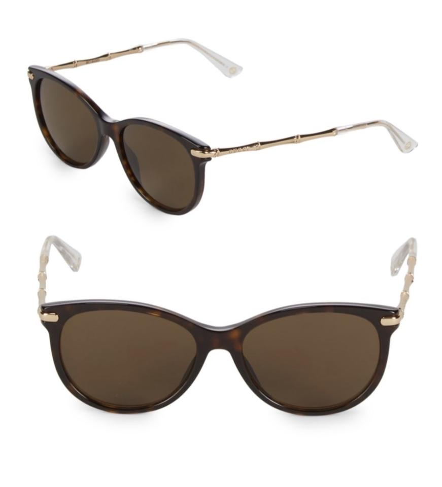 3214af9a401 Gucci Brown Oval with Gold Bamboo Frame Sunglasses - Tradesy
