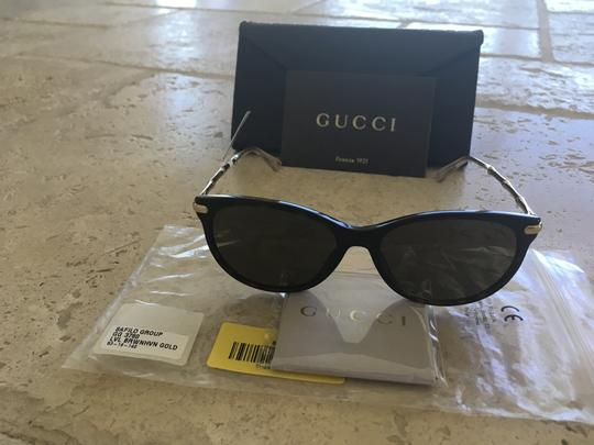 Gucci Oval Sunglasses with Gold Bamboo Frame