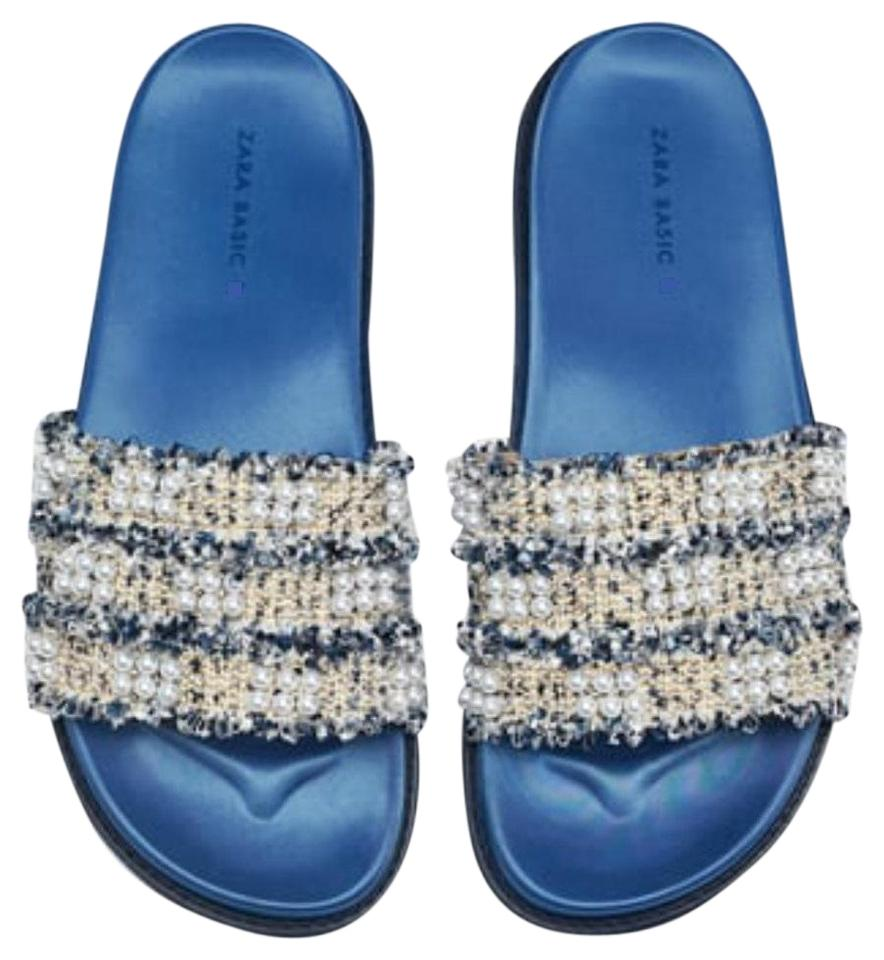 Zara Blue Faux Pearl Sandals Size US 6 Regular (M