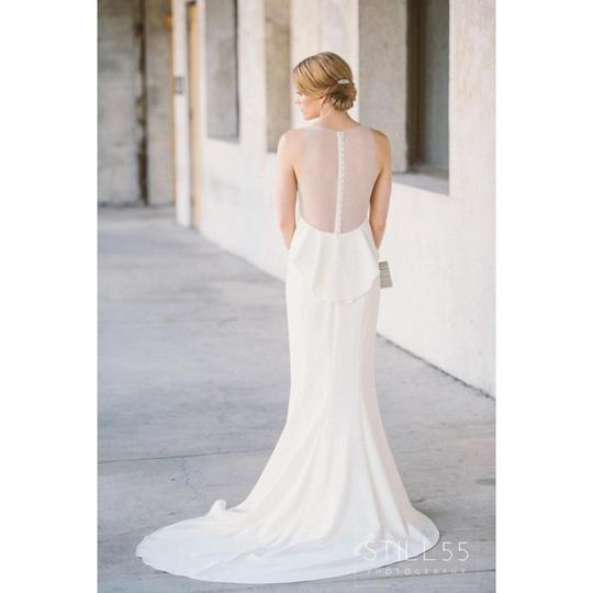 Amsale Ivory Heavy Crepe Demi Sheer Back Gown Feminine Wedding Dress Size 6 (S)