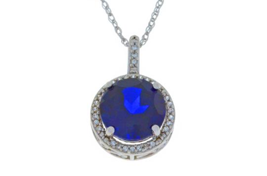 Other 3.5 Ct Blue Sapphire & White Sapphire Pendant .925 Sterling Silver