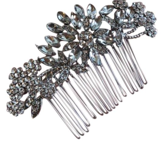 Hair Comb Pin Bridal Wedding Crystal Prom Swarovski Silver Flower Large Bling Hair Comb Pin Bridal Wedding Crystal Prom Swarovski Silver Flower Large Bling
