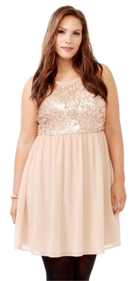 Forever 21 Champagne Sleeveless Sequin Empire Waist Plus-size Above Knee  Night Out Dress Size 22 (Plus 2x)