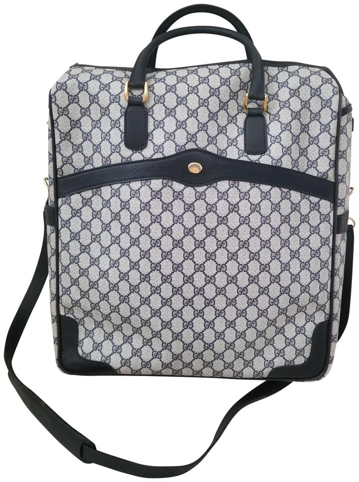 Gucci Rare Carry-on Gg Luggage Blue Monogram Canvas and Leather ... 2a8833c343361