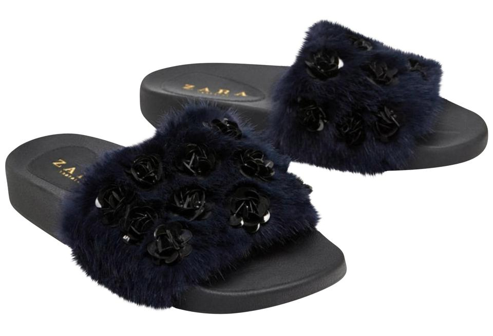 86ff5ae014e Zara Blue Faux Fur Embellished Slides Flats Size US 6.5 Regular (M ...