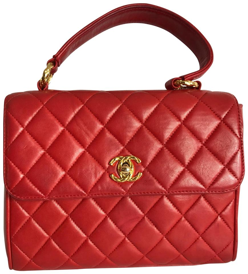 669b46b7a883 Chanel Kelly Cc Logo Quilted Handbag Red Lambskin Leather Satchel ...