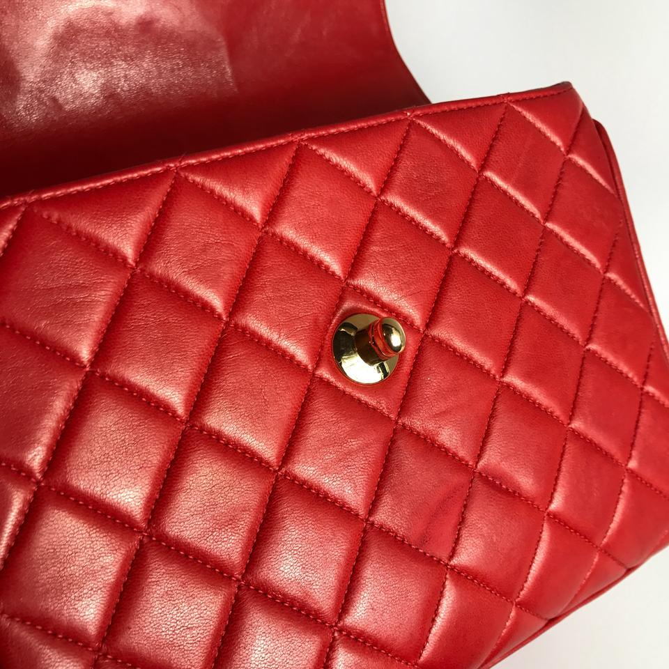 281c343b7664 Chanel Kelly Cc Logo Quilted Handbag Red Lambskin Leather Satchel - Tradesy