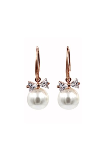 Preload https://img-static.tradesy.com/item/24097677/rose-gold-elegant-crystal-ties-pearl-earrings-0-0-540-540.jpg