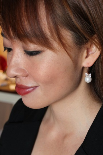 Ocean Fashion Rose gold Elegant Crystal Ties Pearl Earrings