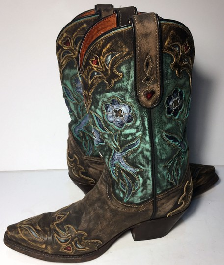 Dan Post Boots Size 7 Cowgirl Size 7 Women 7 Brown Blue Boots