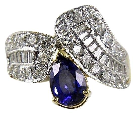Preload https://img-static.tradesy.com/item/24097745/blue-and-white-and-gold-pear-sapphire-diamond-cluster-band-18k-yellow-382ct-ring-0-1-540-540.jpg