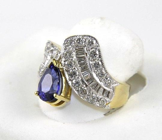 Other Pear Blue Sapphire & Diamond Cluster Ring Band 18k Yellow Gold 3.82Ct