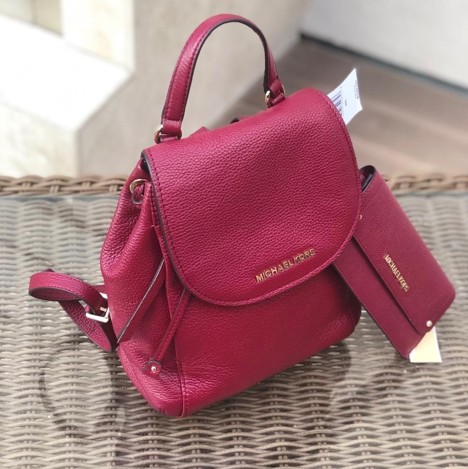 54df8858a718 Michael Kors 2pcs Riley Medium Burgundy Bundled W Wallet Mulberry Pebbled  Leather Backpack - Tradesy