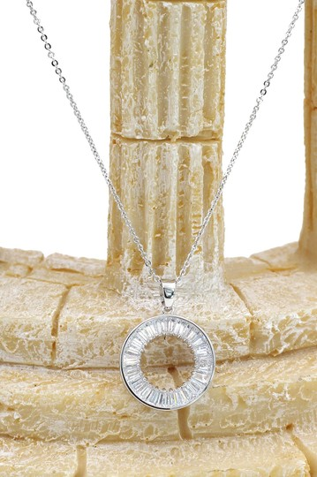 Ocean Fashion Sterling silver Fashion Crystal Circle Necklace