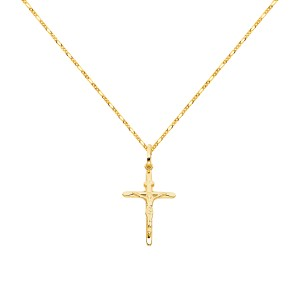 Top Gold & Diamond Jewelry 14k Yellow Gold Crucifix Cross Pendant with 1.6mm Figaro Chain - 20