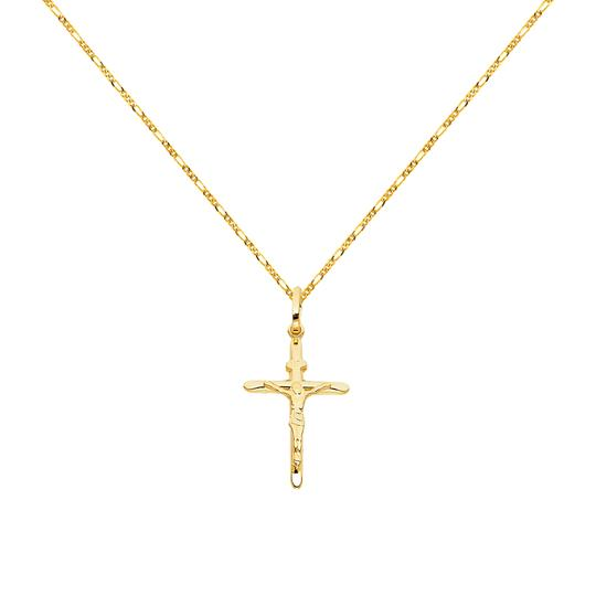 Preload https://img-static.tradesy.com/item/24097771/yellow-14k-crucifix-cross-pendant-with-16mm-figaro-chain-20-necklace-0-0-540-540.jpg