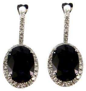 Other Oval Blue Sapphire & Diamond Drop Earrings 14K White Gold 16.69Ct