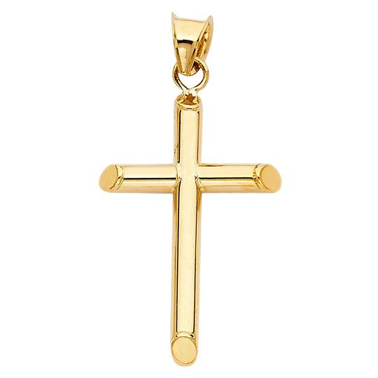 Top Gold & Diamond Jewelry 14k Yellow Gold Religious Cross Pendant with 1mm Snail Link Chain-16''