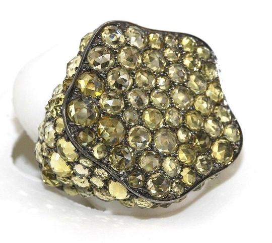 Other Black Rose Yellow Sapphire Cluster Ring 18k White Gold 11.22Ct
