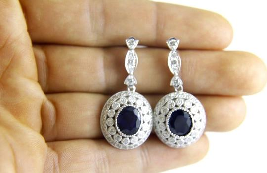 Other Blue Sapphire & Diamond Lady's Drop Earrings 14K White Gold 8.55Ct