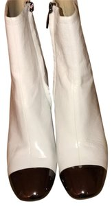 Zara white with pewter metal toe Boots