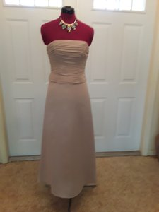 Chadwicks Taupe Peau De Soie Satin Gown with Bolero Formal Bridesmaid/Mob Dress Size 4 (S)