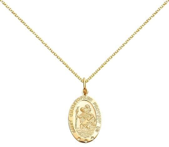 Top Gold & Diamond Jewelry 14k St. Christopher Pendant with 1.5 mm Flat Open Wheat Chain - 16