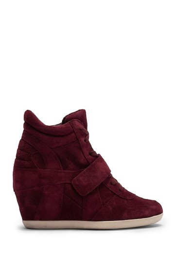 Ash Wedge Sneaker Suede Leather Red Burgundy Athletic