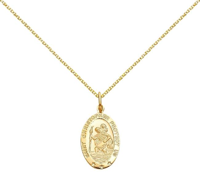 "Top Gold & Diamond Jewelry Yellow Christopher 14k St. Pendant with 1.5 Mm Flat Open Wheat Chain - 18"" Necklace Top Gold & Diamond Jewelry Yellow Christopher 14k St. Pendant with 1.5 Mm Flat Open Wheat Chain - 18"" Necklace Image 1"