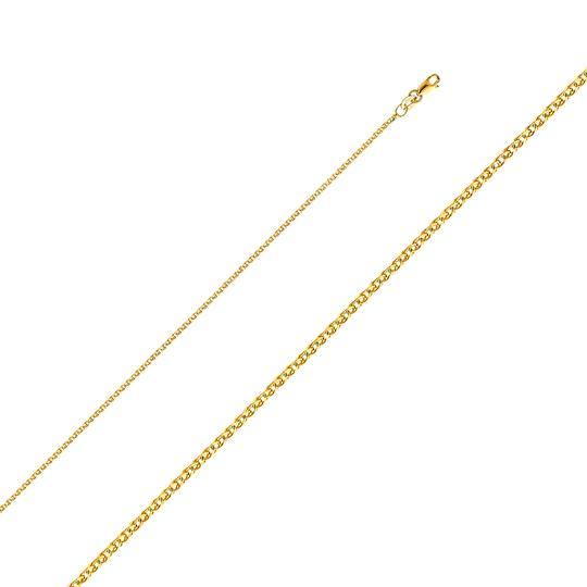 Top Gold & Diamond Jewelry 14k St. Christopher Pendant with 1.5 mm Flat Open Wheat Chain - 18