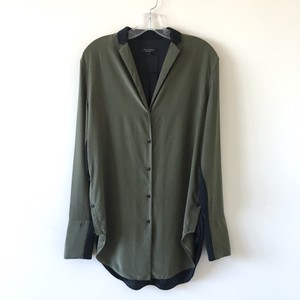 Rag & Bone Button Down Shirt Army Green & Black