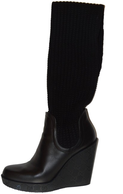 Gucci Black Leather Knit Boots/Booties Size EU 39 (Approx. US 9) Regular (M, B) Gucci Black Leather Knit Boots/Booties Size EU 39 (Approx. US 9) Regular (M, B) Image 1