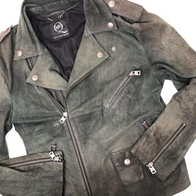 Item - Green Soft Leather Suede Moto Jacket Size 6 (S)