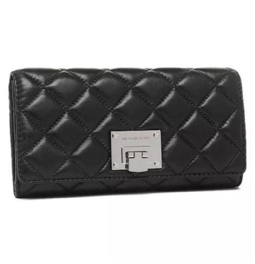 Preload https://img-static.tradesy.com/item/24097989/michael-kors-black-silver-astrid-quilted-soft-leather-carryall-large-clutch-rare-wallet-0-0-540-540.jpg