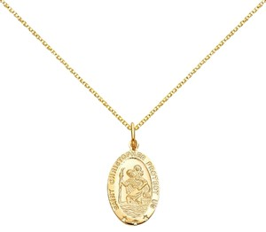 Top Gold & Diamond Jewelry 14k St. Christopher Pendant with 1.5 mm Flat Open Wheat Chain - 22
