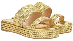 Charlotte Olympia Slide Braided Metallic Gold Sandals