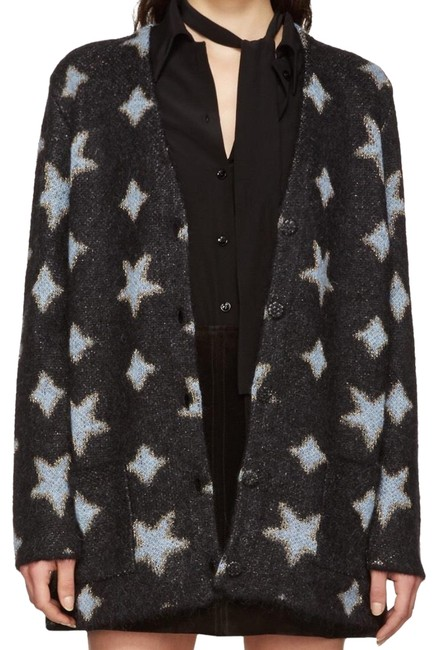 Preload https://img-static.tradesy.com/item/24098055/saint-laurent-black-oversized-blue-and-gold-star-woven-mohair-jacquard-cardigan-size-8-m-0-1-650-650.jpg