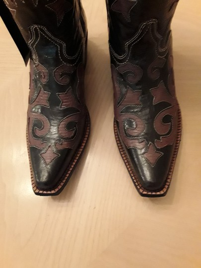 J.B. Dillon Cowboy Leather Embroidered Embellished Brown Boots