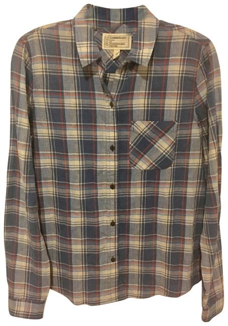 Preload https://img-static.tradesy.com/item/24098071/currentelliott-blue-paradise-plaid-button-down-top-size-4-s-0-1-650-650.jpg